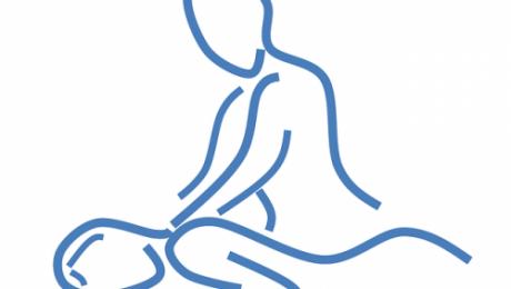 dibujo en silueta de una persona dándole unos masajes a otra